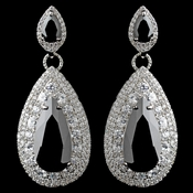 Rhodium Black Teardrop CZ Drop Earrings
