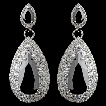 Rhodium Black Teardrop CZ Drop Earrings***Discontinued***
