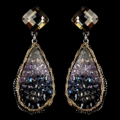 Rhodium Blue Light Amethyst Gold Smoke Crystal & Beaded Hand Made Drop Earrings 82040 ***Discontinued***