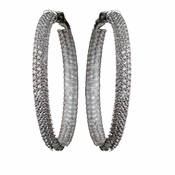 Rhodium Clear 3 Row CZ Crystal Pave Hoop Earrings
