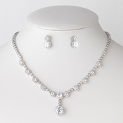 Rhodium Clear Circle CZ Crystal Bridal Wedding Jewelry Set 82071