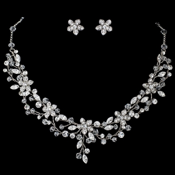 Rhodium Clear Crystal & Rhinestone Floral Vine Jewelry Set 9500