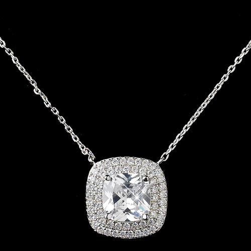 Rhodium Clear Cushion CZ Pendant Necklace
