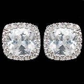 Rhodium Clear Cushion CZ Stud Earrings 9794
