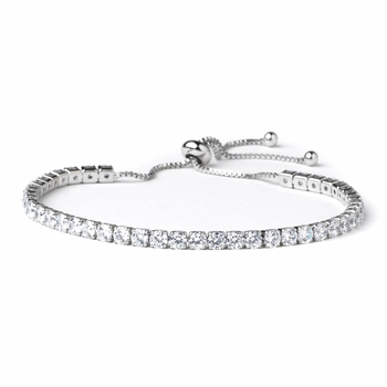 Rhodium Clear CZ Adjustable Bridal Wedding Bracelet 82069