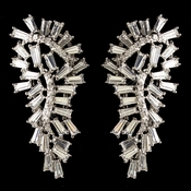 Rhodium Clear CZ Crystal Baguette Drop Earrings 9724