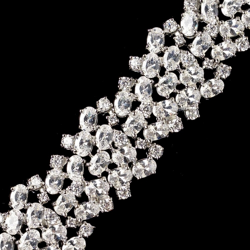 "Plus Size 8"" long Rhodium Clear CZ Crystal Bracelet 82004"