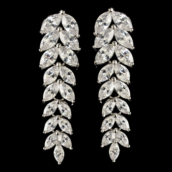 Rhodium Clear CZ Crystal Chevron Dangle Earrings 9397
