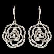 Rhodium Clear CZ Crystal Clear Rose Leverback Drop Earrings 9416
