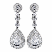 Rhodium Clear CZ Crystal Clip On Earrings 2286