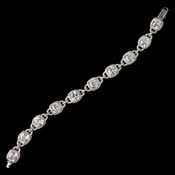 Rhodium Clear CZ Crystal Cushion Cut Bracelet 4402