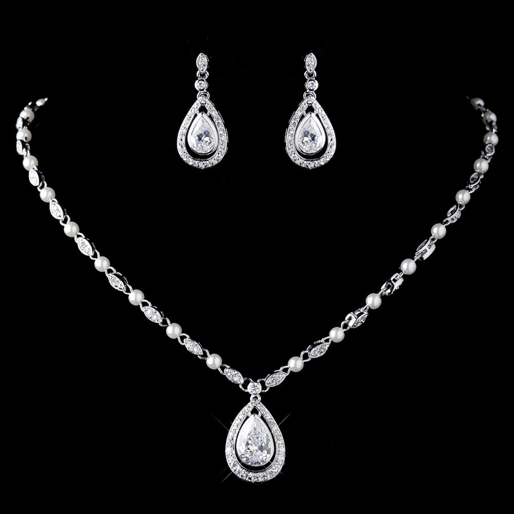 rhodium clear cz crystal diamond white pearl necklace