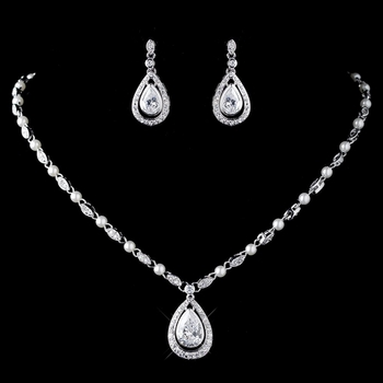 Rhodium Clear CZ Crystal & Diamond White Pearl Necklace 76019 & Earrings 76018 Jewelry Set
