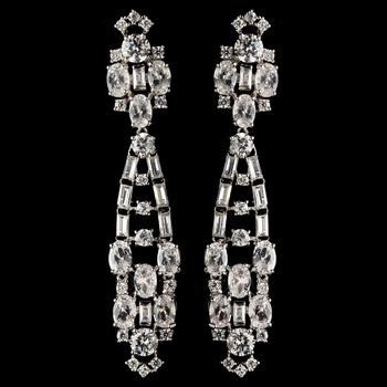 Rhodium Clear CZ Crystal Egyptian Inspired Dangle Earrings 61911