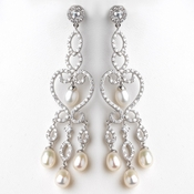 Rhodium Clear CZ Crystal & Freshwater Pearl Chandelier Earrings 4702