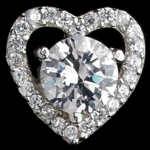Rhodium Clear CZ Crystal Heart Stud Earrings 9205