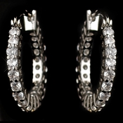 Rhodium Clear CZ Crystal Hoop Earrings 82015