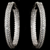 Rhodium Clear CZ Crystal Inside Outside Pave Hoops E 9401