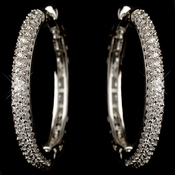 Rhodium Clear CZ Crystal Pave Hoop Earrings 9735