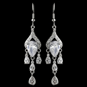 Rhodium Clear CZ Crystal Pear Chandelier Earrings 9212***Discontinued***