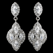 Rhodium Clear CZ Crystal Pear Drop Earrings 9619