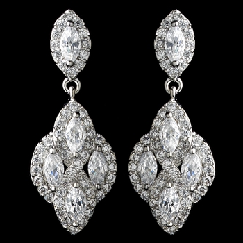 Rhodium Clear CZ Crystal Drop Earrings 9619