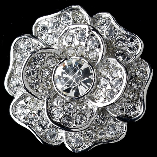Rhodium Clear CZ Crystal Rose Clip On Stud Earrings 82010