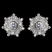 Rhodium Clear CZ Crystal Round Snowflake Stud Earrings 9209