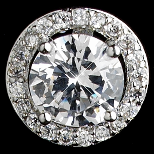 Rhodium Clear CZ Crystal Round Stud Earrings 8845