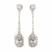 Rhodium Clear CZ Crystal Shoulder Dangle Bridal Wedding Earrings 82079