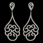 Rhodium Clear CZ Crystal Swirl Chandelier Earrings 7233