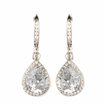 Rhodium Clear CZ Crystal Teardrop Bridal Wedding Earrings 82075