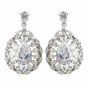 Rhodium Clear CZ Crystal Teardrop Earrings 3118