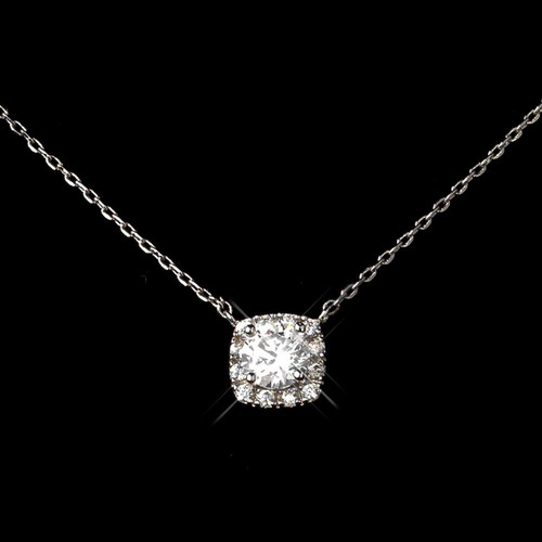 Rhodium Clear CZ Cushion Round Pendent Necklace