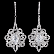 Rhodium Clear CZ Drop Earrings 8624
