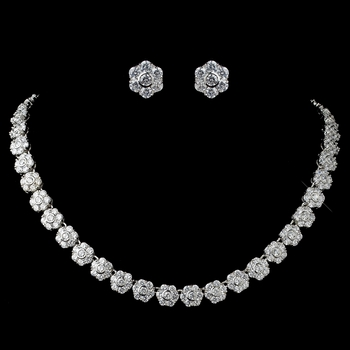 Rhodium Clear CZ Flower Jewelry Set