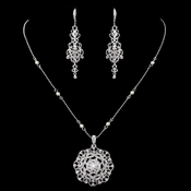 Rhodium Clear Rhinestones & Ivory Pearl Jewelry Set