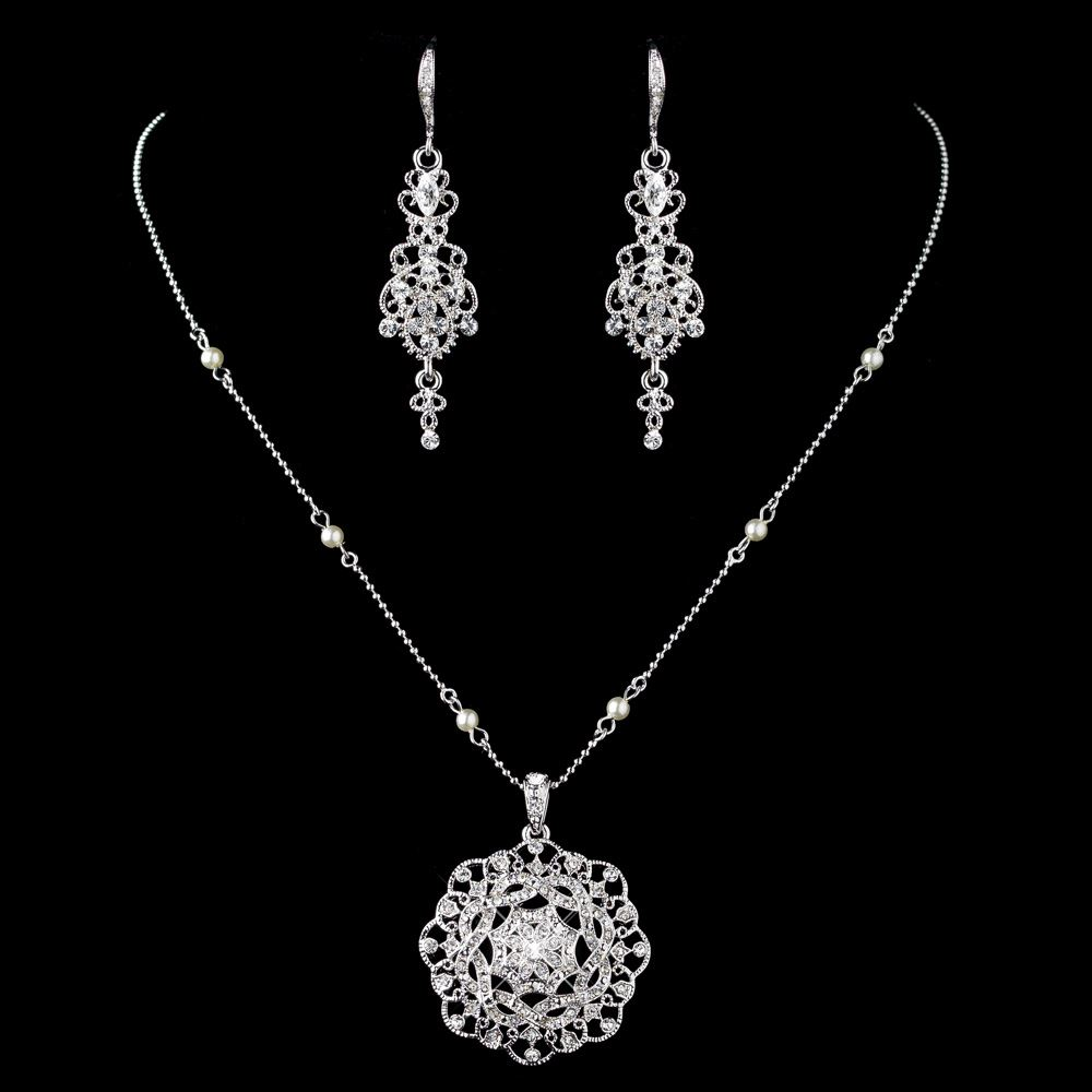 Rhodium clear rhinestones ivory pearl jewelry set for Best glue for pearl jewelry