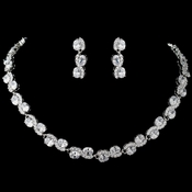 Rhodium Clear CZ Oval Swirl Jewelry Set 9591