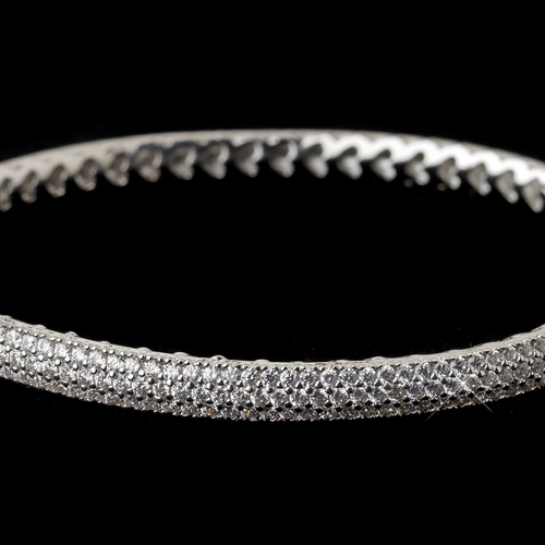 Rhodium Clear CZ Pave Bangle Bracelet 9950