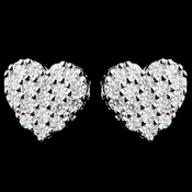 Rhodium Clear CZ Pave Stud Heart Earrings 6215