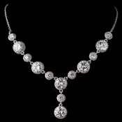 Rhodium Clear CZ Round Crystal Necklace 9620