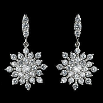 Rhodium Clear CZ Snowflake Earrings***Discontinued***
