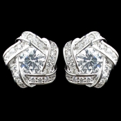 Rhodium Clear CZ Stud Eternity Earrings 8848