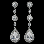 Rhodium Clear CZ Teardrop Dangle Earrings