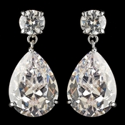 Rhodium Clear CZ Teardrop Dangling Earrings 7770