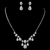 Rhodium Clear CZ Teardrop Jewelry Set