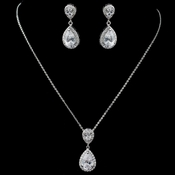 Rhodium Clear CZ Teardrop Pendant Jewelry Set 7761