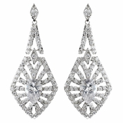 Rhodium Clear Decadent CZ Crystal Dangle Earrings 9210