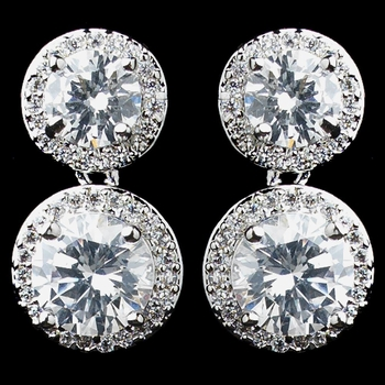 Rhodium Clear Double Pave Round CZ Drop Earrings 9730***Discontinued***